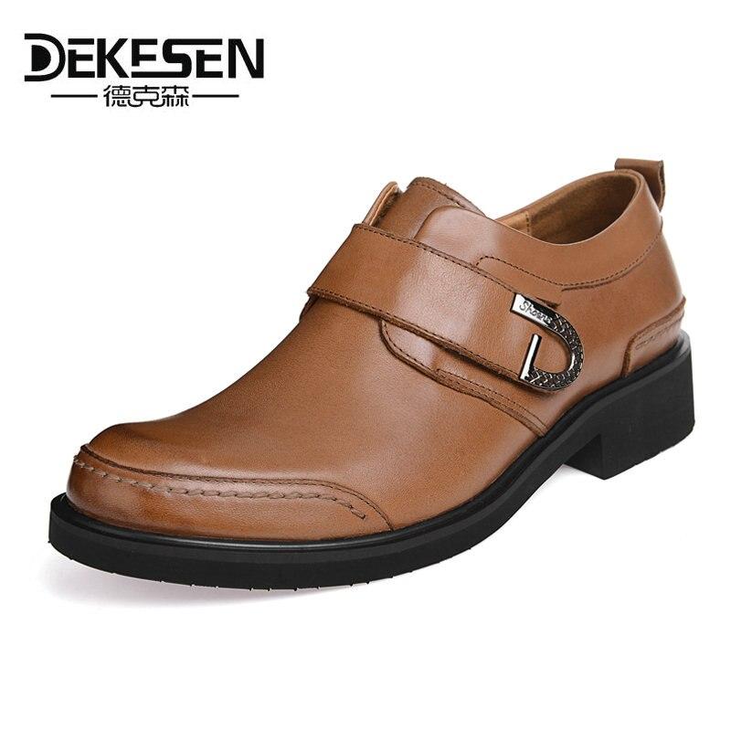 DEKESEN Guaranteed 100% Genuine Leather Men Shoes Business Formal Shoe Man Dress Brogues Oxfords Monk Strap Shoes Zapatos Hombre