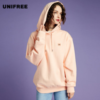 UNIFREE Hoodies Women Loose Harajuku Solid Color Pullovers For Girls UH181A135