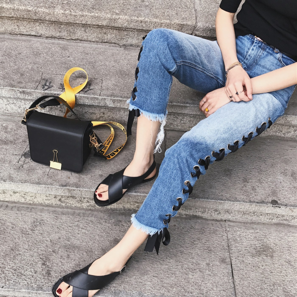 2017 Fashion Women Jeans Retro Style Split Lace up Ribbon Vintage Denim Pencil Pants Casual High waist Ankle-length Trousers loose lace up casual mens pencil pants