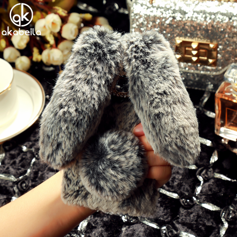 AKABEILA Rhinestone Rabbit Fur Cover For Samsung Galaxy J1 2016 Bag J120F J120 SM-J120 SM-J120F/DS 4.5inch Shockproof Phone Case