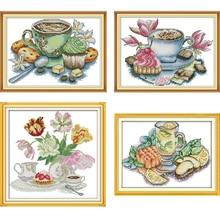 Joy Sunday Cross Stitch kits Afternoon Tea Series DMC 14CT 11CT Cotton