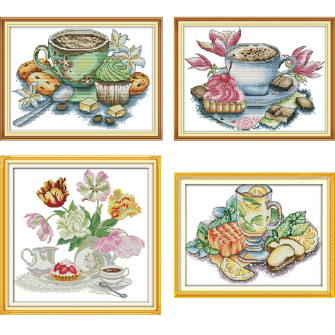 Joy Sunday Cross Stitch kits Afternoon Tea Series DMC 14CT 11CT Cotton Fabric Hotel Home Decor Painting NKF Factory Wholesale Pakistan