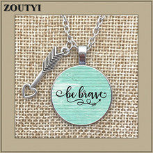 2018/ hot sale BE BRAVE~ charm alloy glass pendant necklace, inspirational charm necklace, gift for her, Cancer survivor 0 breast cancer ribbon with epoxy heart charm pendant necklace