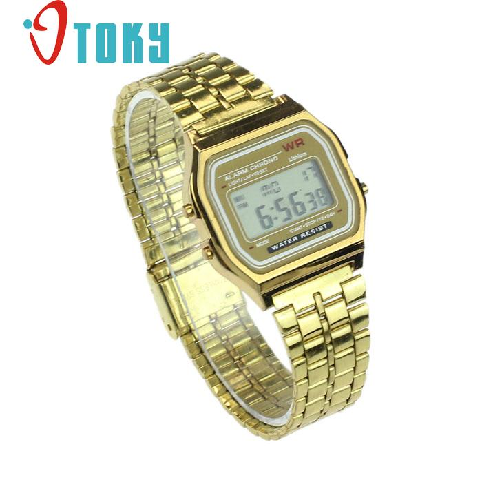 Hot hothot Womens Men Watch Stainless Steel Digital Alarm Stopwatch Classic Silver Gold WristWatch Men nv7 Dropshipping LI no name бо 8