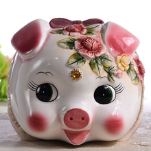 ceramic cute pink pig piggy bank home decor crafts room decoration objects ornament porcelain animal figurines gift for girls