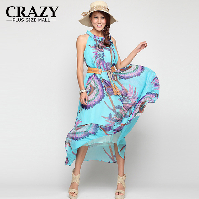 c9daaea72d6b 2015 Plus Size 6XL 5XL 4XL 3XL XXL Women Summer Chiffon Maxi Dress Ladies  Floral Printed