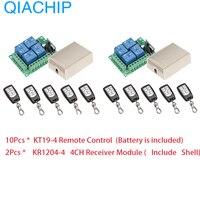 Wireless Remote Control Switch DC 12V 4 CH 10pcs RF Relay Receiver Module + RF Remote 433 Mhz Transmitter Diy 2pcs