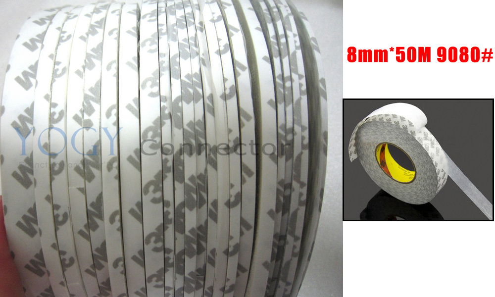 1x 8mm*50 meters 3M 9080 2 Faces Sticky Tape for Cellphone Screen Display Repair LED Strip Bond