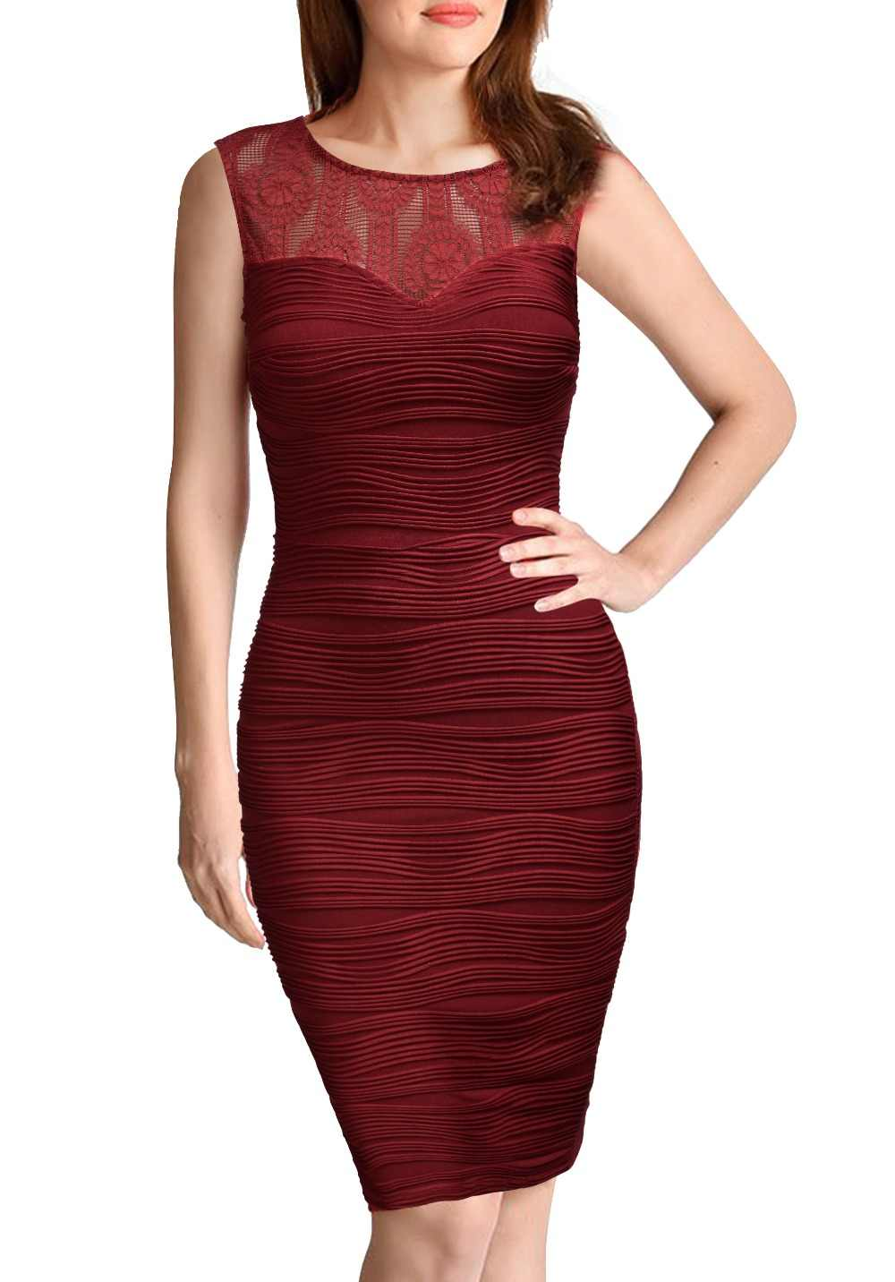 2d12b64846fc6 REPHYLLIS Women Sleeveless Top Lace V Back Sexy Bodycon Cocktail Wear to Work  Party Summer Business