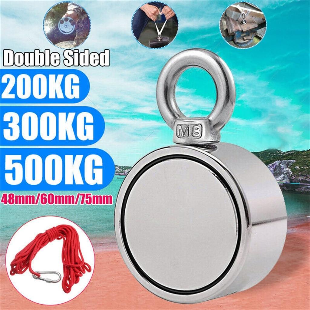 Outdoor Gadget 2019 TOP 200/300/500KG Double Side Neodymium Metal Magnet Detector Fishing Kit+10M Rope 5.23