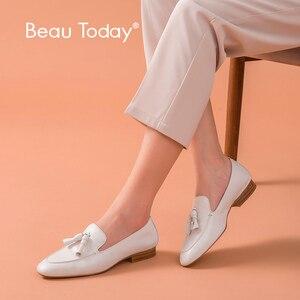 Image 1 - BeauToday mocassins pour femmes, à enfiler, en cuir de vache véritable, à franges bout carré, printemps automne, chaussures plates pour femme, fait à la main, 27147