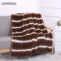 LOVRTRAVEL Fleece Throw Blankets on The Bed Fluffy Hall Plaid Stripe Decorative Blanket on The Sofa Bedspreads for Bed 160x200cm