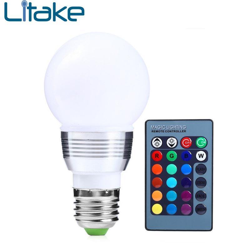Litake E27 RGB LED Bulb 3W 220V LEDs Lamp RGB Light Bulb Spot 24Key IR Remote Control Home Christmas Decoration стоимость