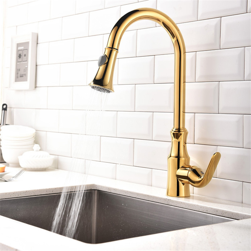 Kitchen Sink Faucets Brass Pull Out Kitchen Sink Mixer Tap Single Handle Hot and Cold Kitchen Crane Deck Mounted  Golden Faucet