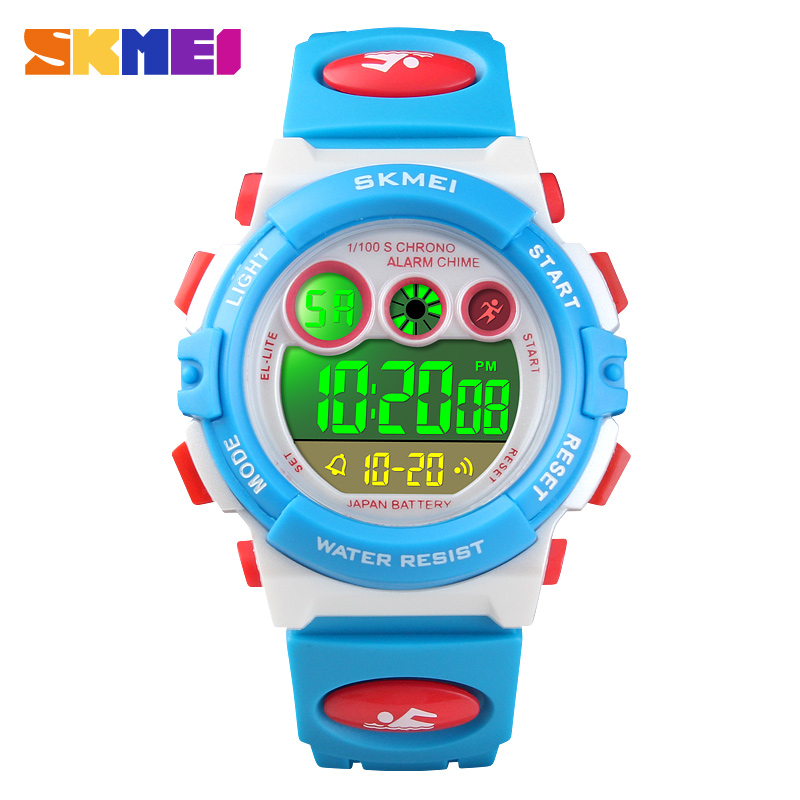 <font><b>SKMEI</b></font> waterproof children wristwatch fashion outdoor running sports kids digital watch auto date shock resistant boy clock image