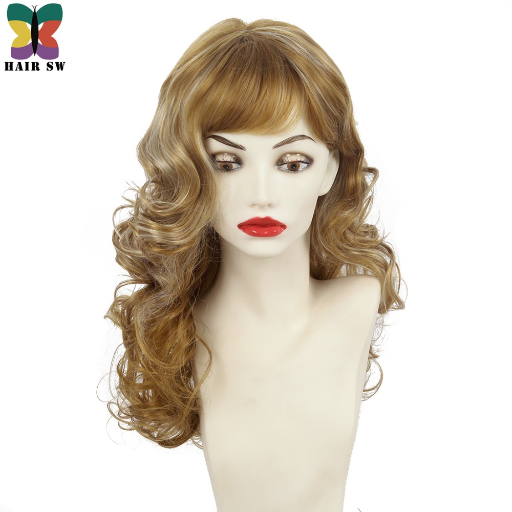 Волос SW Средний Длина волнистые синтетический парик темный блондин золотистый выделяет порывистый нескольких слоев Синтетические чёлки в...