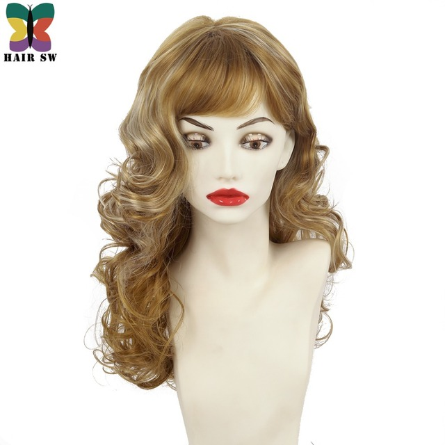 Hair Sw Medium Length Wavy Synthetic Wig Dark Golden Blonde
