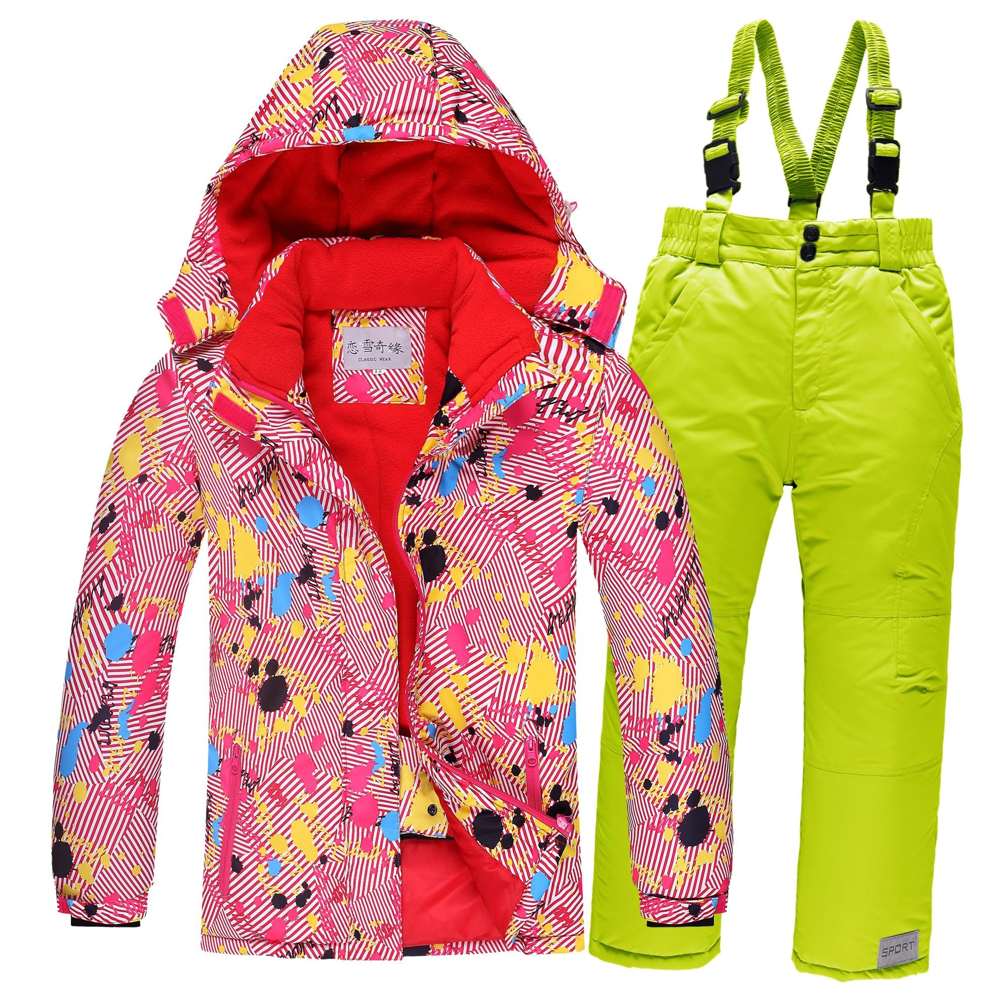 Costume de Ski pour enfants épaissi enfants imperméable Super chaud hiver costumes garçons et filles vêtements de plein air Set-30 degrés