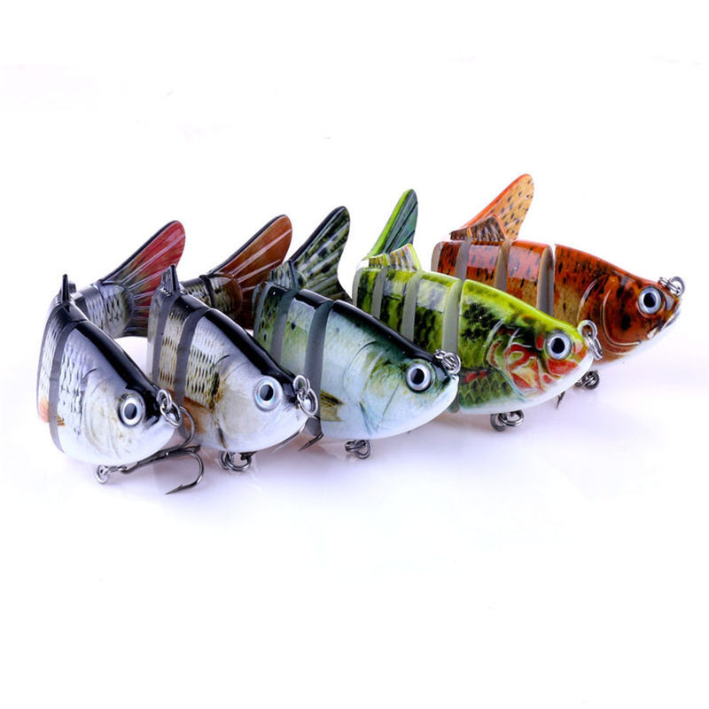 5 Pcs Fishing Hooks FishingLures Lifelike Multijointed 6-segement Pike Fishing Lure Fake Fish Bait Fishs Lead Jig M25