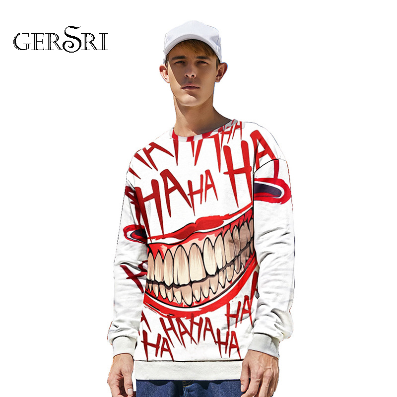 Gersri haha joker 3D Print Sweatshirt Hoodies Men and women Hip Hop Funny Autumn Streetwear Hoodies Sweatshirt Long Sleeve