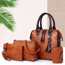 4pcs sets Fashion Vintage Handbag for Women Medium High Quality Oil Leather Shoulder Crossbody Bag Brown Black Female Tote Purse