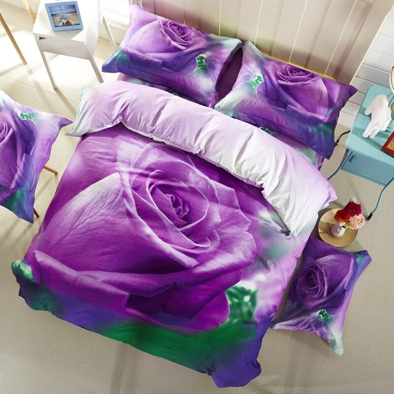 PAPA&MIMA 3D printed purple roses bedding set 4pcs Queen size duvet cover set bedsheet quilt cover set cotton pillowcase