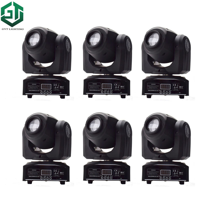 6pcs/lot Hot Sell 30W Mini Led Spot Moving Head Light DMX512 Stage Dj 30W Gobo Moving Heads Disco Light