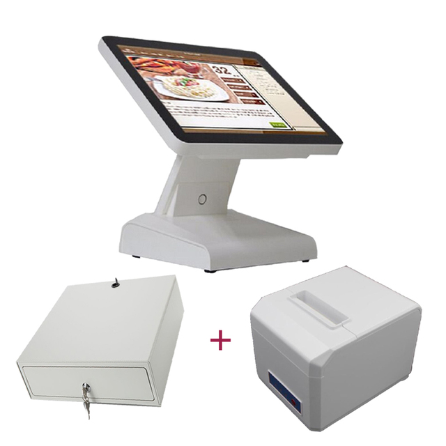 restuarant pos system screen cash register 15 inch pos terminal epos all in one with 80mm receipt printer cash drawer