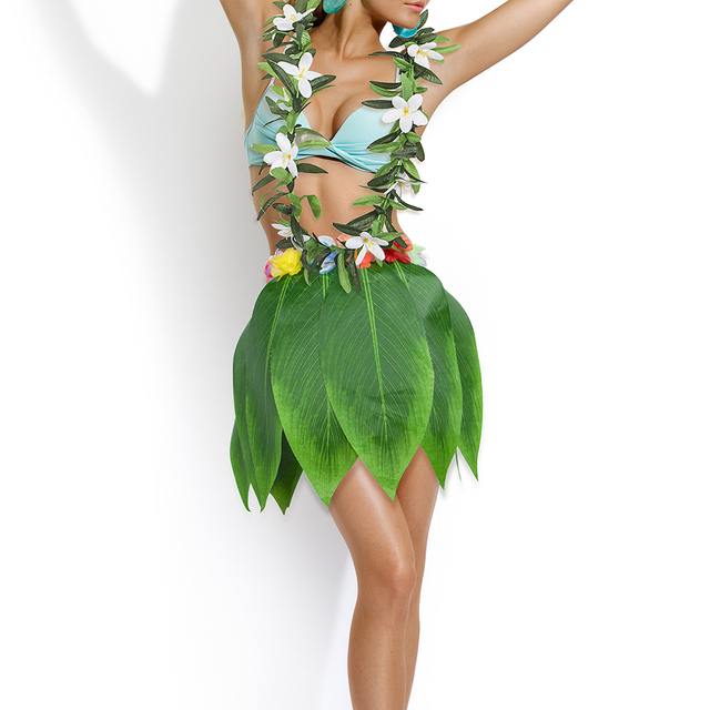 bca0defd62c7 Hawaiian Beach Themed Decoration Party Supplies Simulation Artificial Green  Hula Leaves Skirt with Flower + Garland for Luau