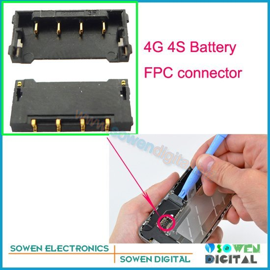 FPC connector for iPhone 4 4g 4S Battery Clip on motherboard mainboard,original new,5pcs/lot,free shipping,
