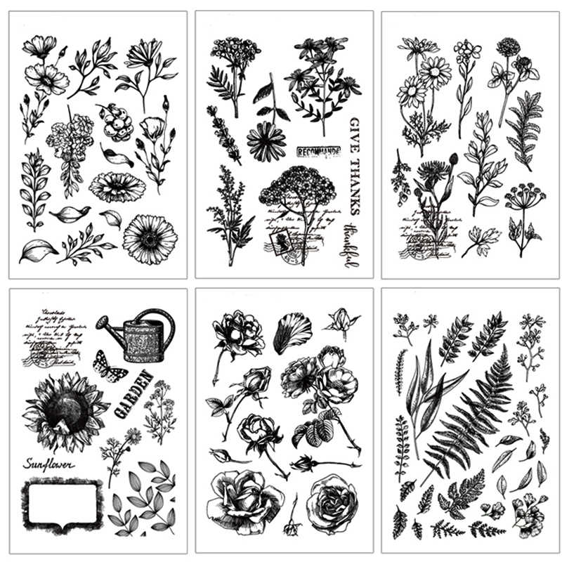 Flower stamps Leaves Clear Stamp 2019 Rubber Transparent Silicone Seal for DIY Scrapbooking Photo Album Decorative Stamp Crafts