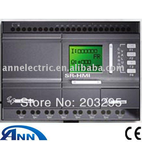 PLC SR-22MTDC with HMI,DC12V-24V 8 points DC input (with 6 points analog ) , 4 points transistor output, wecon 24 points plc compatible with q series lx3vp 1212mt d