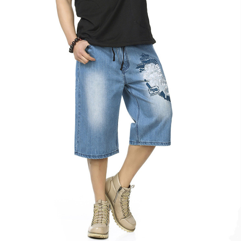 2017 Hip Hop Mens Baggy Denim Shorts Plus Size Casual Flower Embroidery Skateboard Jeans Shorts for Male