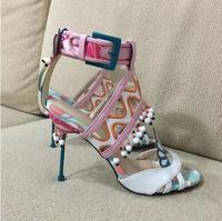 Latest Sweet Multicolored High Heel Sandal Beading Bowtie Embellished Summer Gladiator Sandals Wedding Party Dress Shoes