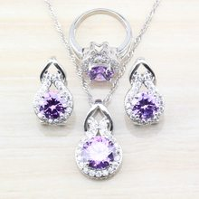 925 Silver Perfect Women Wedding Costume Jewelry Sets With Purple Natural Crystal Hoop Earrings/Necklace&Pendant/Ring(China)