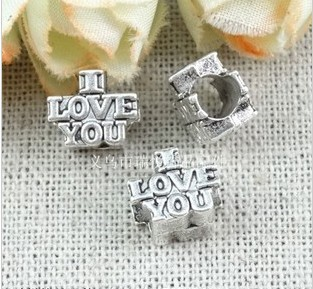 (A3117) 8*7MM LOVE YOU Perforated beads fantasy beads for necklace Jewelry Findings,Accessories,pendant,Alloy Antique