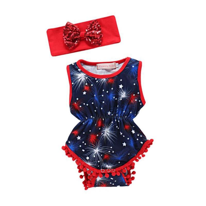 Practical 2pcs Baby Girls Summer Clothes Infant Cotton Firework Print Romper Headband At All Costs