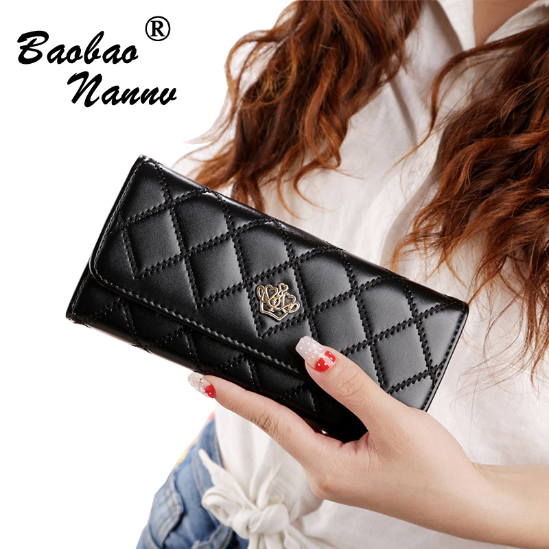 2018 Wallet Fashion Wallet Women PU Leather Wallet Crown Rhombus Brand Women Purse Long Purse Coin Purse Money Bag For iPhone free shipping new fashion brand women s long wallet ladies purse money pack 100