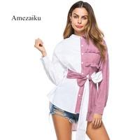 Women Fashion White Strip Patchwork Blouse Ladies Elegant Tops Clothing Shirts Tops Female Clothes Blouses Shirt