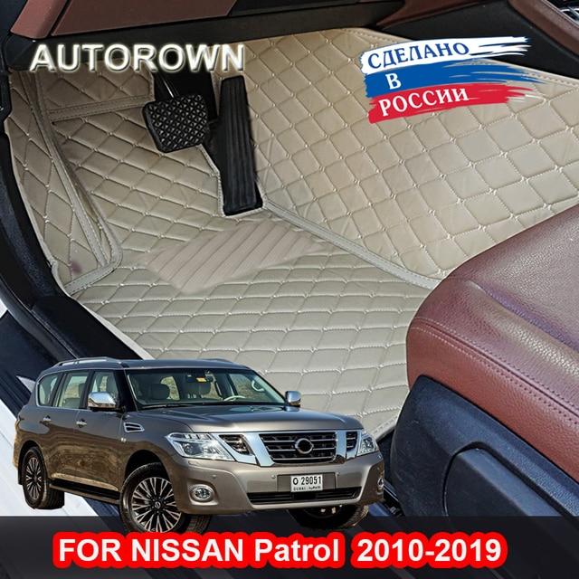 Waterproof 3D Floor Mat For Nissan Patrol 2004-2019 Y61 Y62 Luxury-Surround 3D Leather Car Floor Mats Car Styling PU Custom