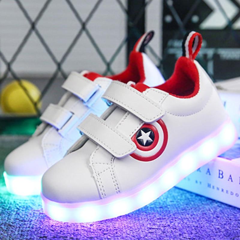 Kinderschoenen Met Lichtjes Maat 23.Maat 26 37 Usb Opladen Mand Led Kinderen Schoenen Met Licht Up Kids