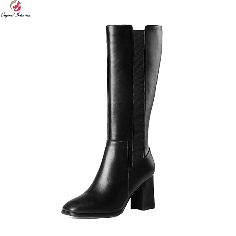 Original Intentention Fashion Women Mid-Calf Boots Fashion Square Toe Square Heels Boots Nice Black Shoes Woman US Size 3-10.5 double buckle cross straps mid calf boots