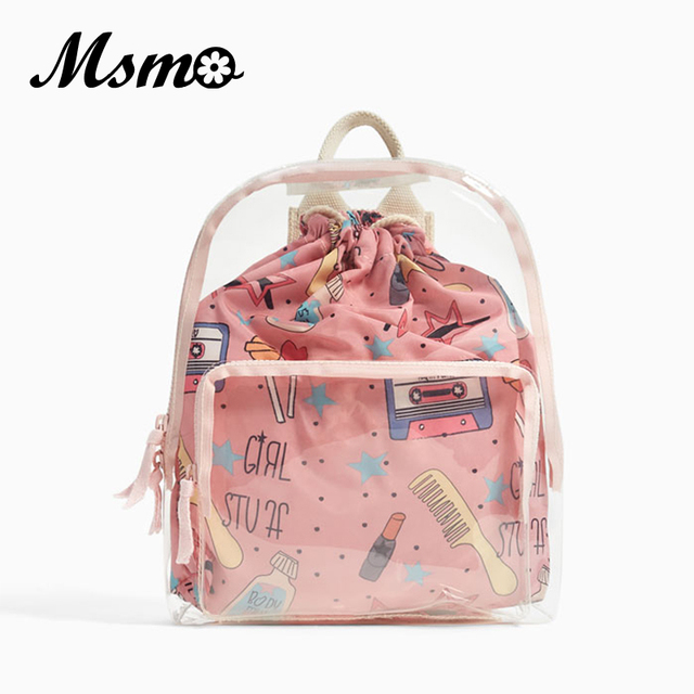5b8579a876 2018 Cute Clear Vinyl Backpack Transparent Mini Backpacks Harajuku  Schoolbags Backpacks For Teenage Girls Small bag