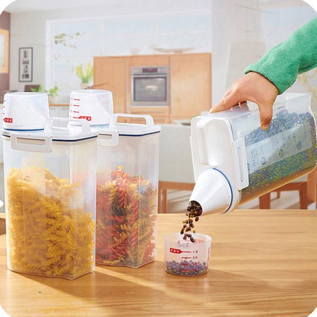 2L Plastic Cereal Dispenser Storage Box Kitchen Food Grain Rice Container Nice 15*7.5*29CM Portable Plastic Food Storage Box
