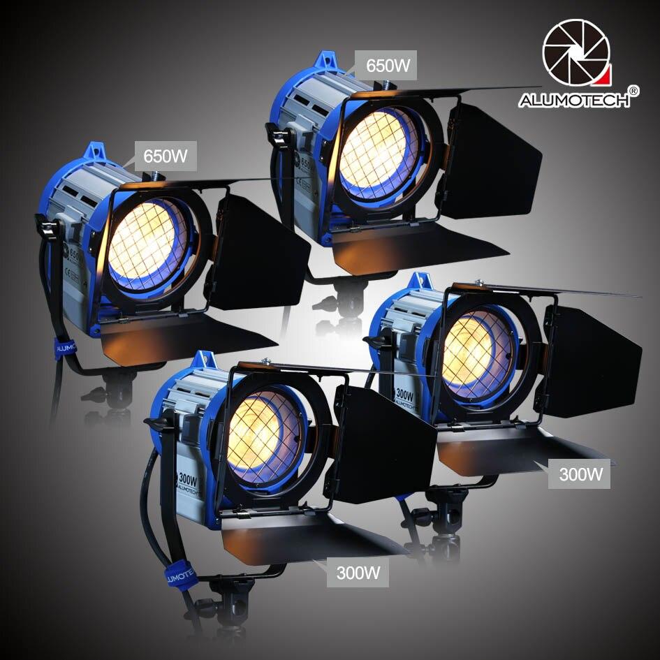 ALUMOTECH Como Fresnel Arri Dimmer Embutido 300wX2 + 650WX2 Escurecimento Lâmpada De Tungstênio Lâmpada Para Iluminação de Estúdio de Fotografia de Vídeo Da Câmera