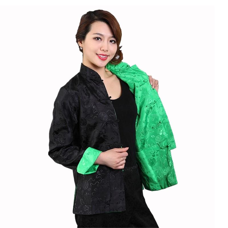 Reversibel Hitam Hijau Wanita Sutra Satin Jaket Gaya Cina Musim Gugur  Mantel Tai Chi Kungfu Pakaian Ukuran Sml XL XXL XXXL M-75 3956aed4d5