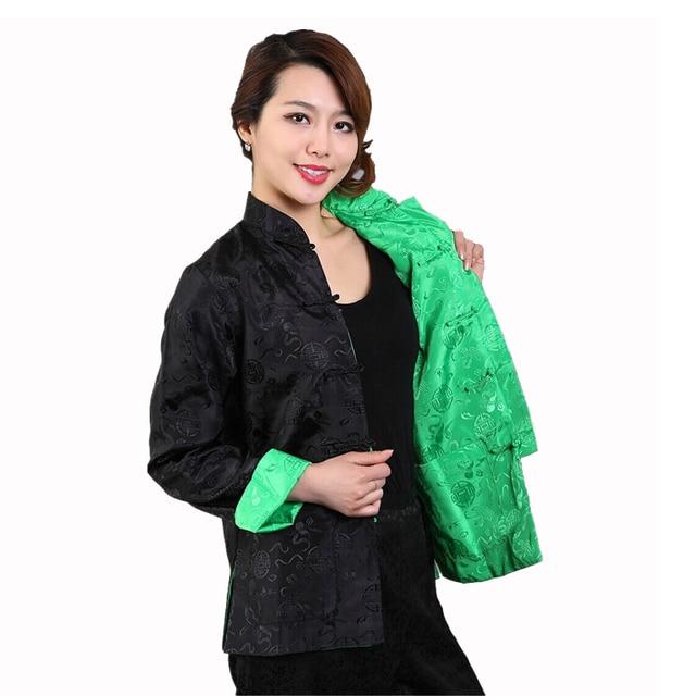 a9459b280bc Reversible Black Green Women Silk Satin Jacket Chinese Style Autumn Coat  Tai Chi Kungfu Clothing Size S M L XL XXL XXXL M-75