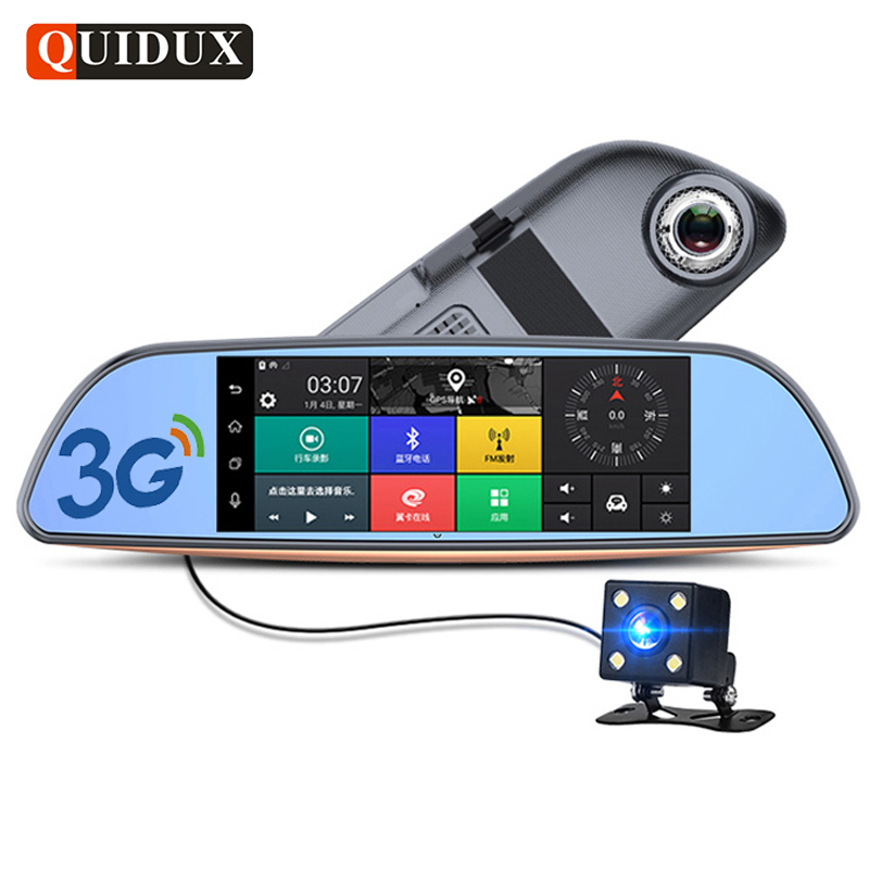 QUIDUX 7.0 inch 3G Car DVR video mirror Android GPS Navigation FHD 1080P car automobile DVR Bluetooth WIFI car camera recorder quidux car dvr vehicle gps wifi android navigation 8g 512mb wifi auto video camera recorder with europe us russia map
