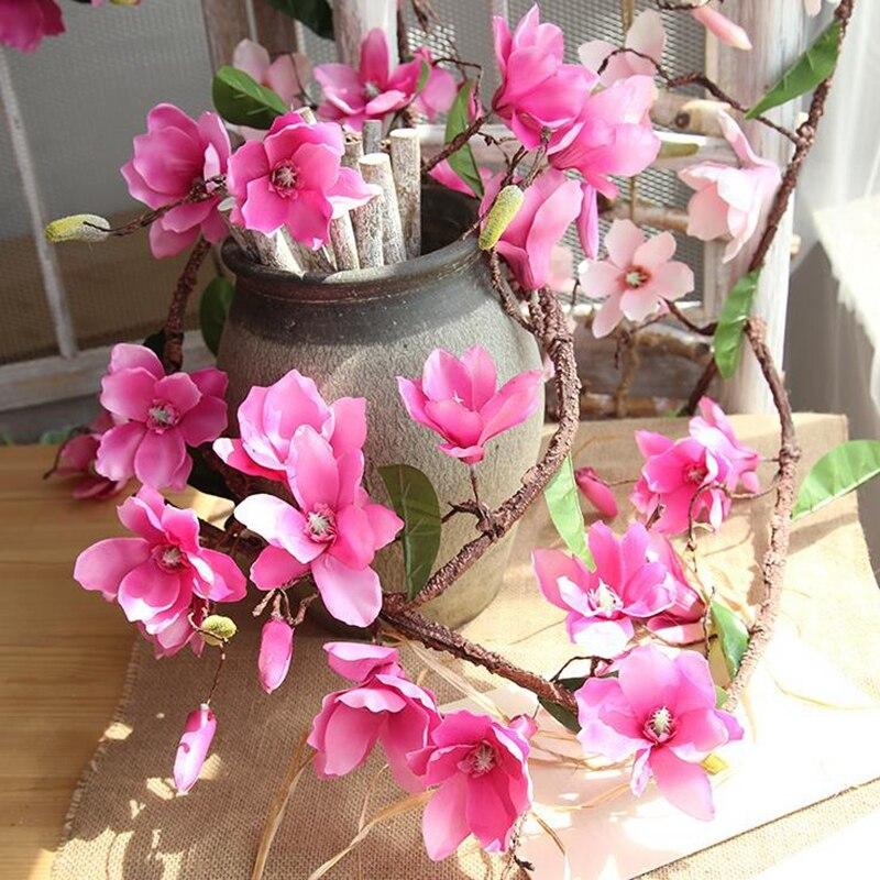 20 Pcs Aritificial Magnolia Vite Vite Fiori di Seta Decorazione di Cerimonia Nuziale Viti Della Parete Del Fiore di Orchidea Rami di Albero di Orchidea Corona