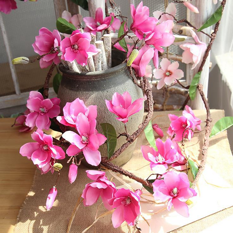 20 pièces artificielle Magnolia vigne soie fleurs vigne mariage décoration vignes fleur mur orchidée arbre Branches orchidée couronne